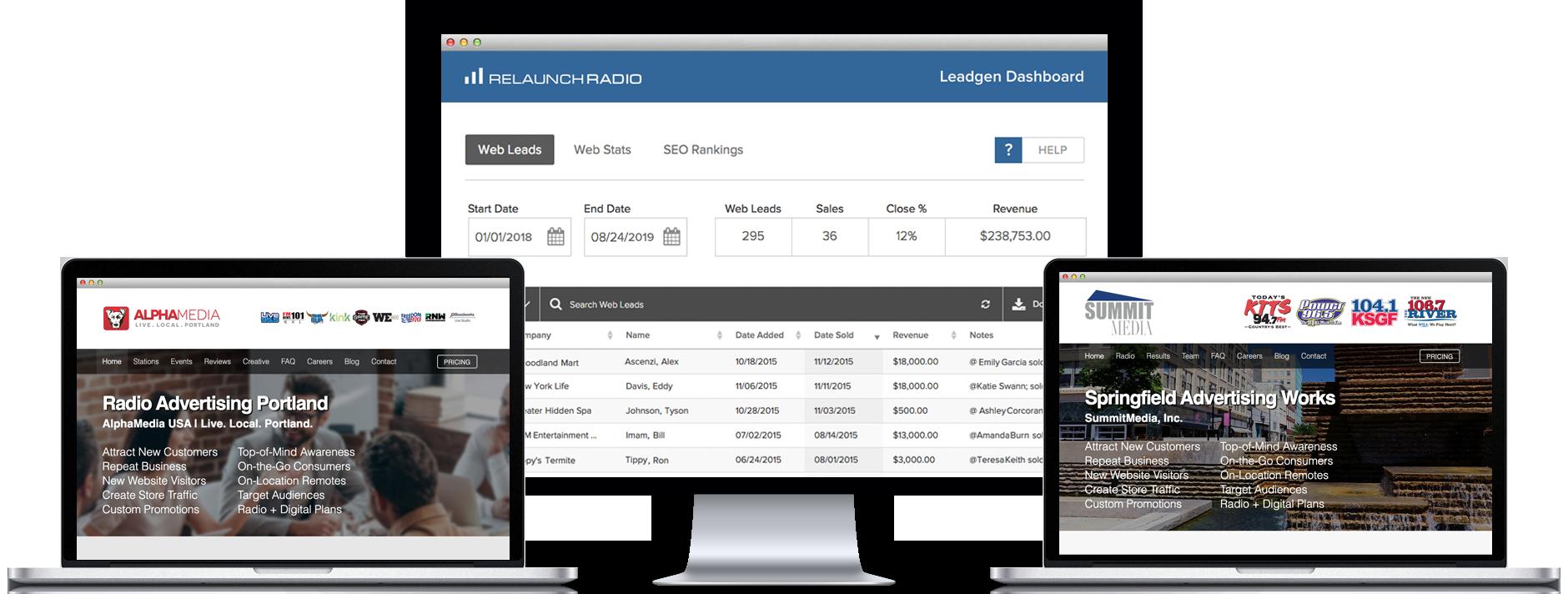 Relaunch radio online leadgen for for Local online sales websites